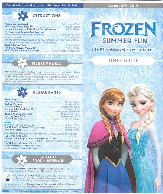 Times Guide Frozen Summer Fun Disney's Hollywood Studios August 3-9 2014
