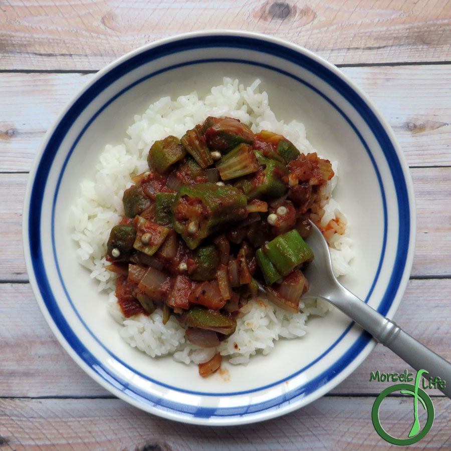 Morsels of Life - Spanish Okra - Okra, sliced and then simmered with tomatoes and onions for a Spanish Okra. Chili powder gives this dish an extra kick!