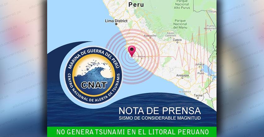 Potente sismo en Palpa - Ica no genera tsunami, informó la Marina de Guerra del Perú - www.dhn.mil.pe