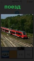 по рельсам двигается красный поезд