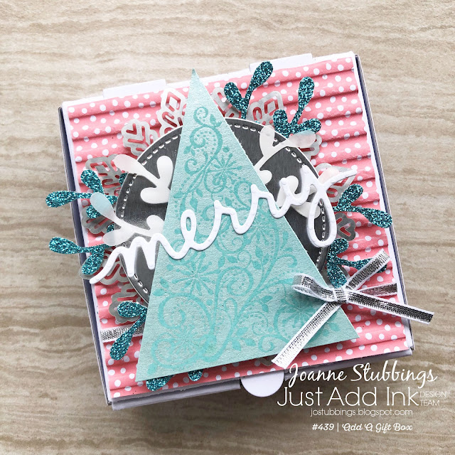 Jo's Stamping Spot - Just Add Ink Challenge #439 using Snow Swirled, Mini Pizza Boxes and Christmas Greetings thinlits by Stampin' Up!