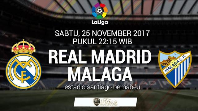Prediksi Bola : Real Madrid Vs Malaga , Sabtu 25 November 2017 Pukul 22.15 WIB