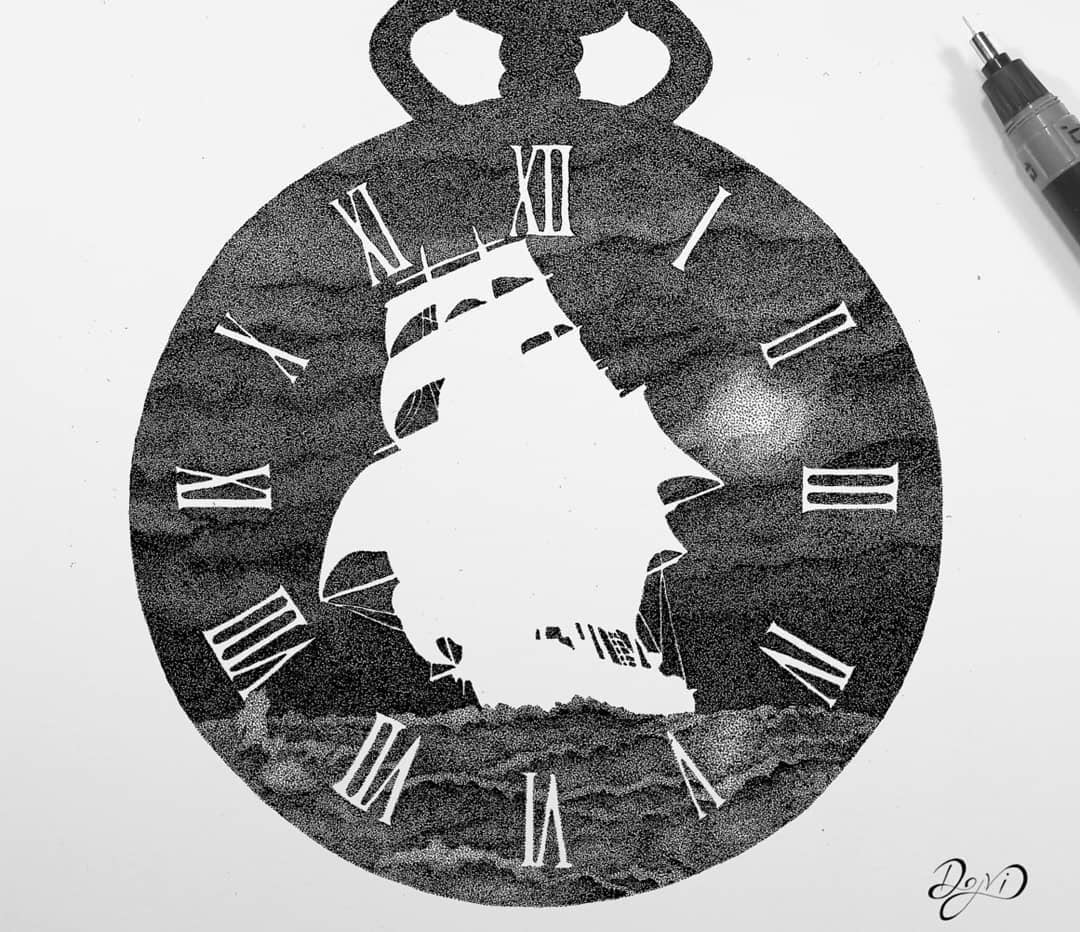 16-Water-Ship and-Clock-Dejvid-Stippling-Illustrator-using-Dots-to-Draw-www-designstack-co