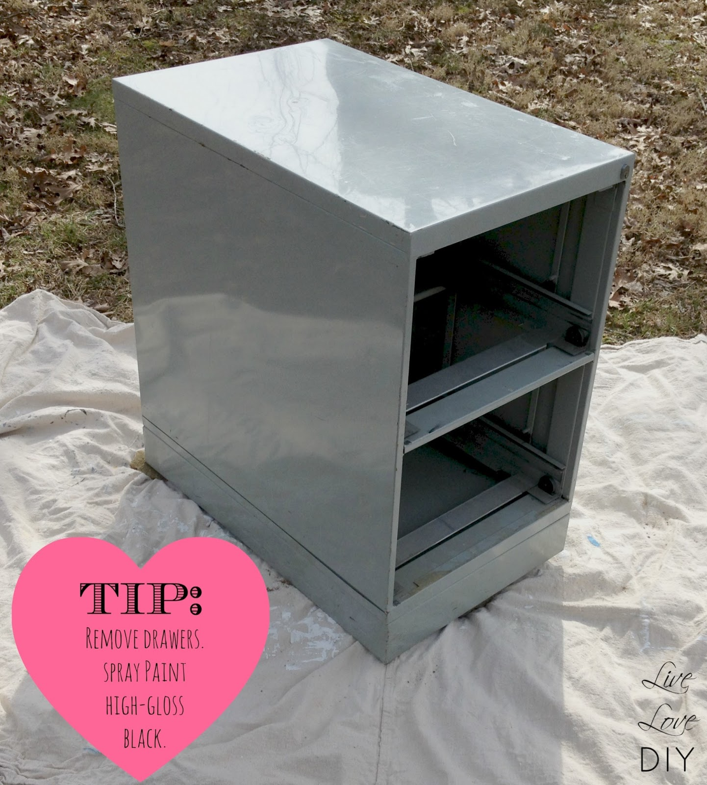 I Learned Not To Skimp On The Spray Paint Quality After My Last Disaster.  Chalkboard Paint File Cabinet ...