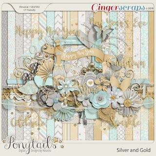 Creative Team, Annemarie, for GingerScraps -  Silver and Gold - Digital Scrapbooking Kit by Ponytails Designs and coordinating Freebie