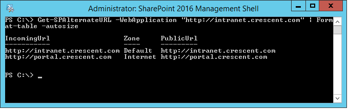 sharepoint powershell add alternate access mapping