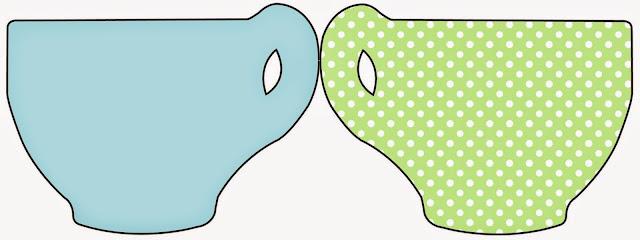 Tarjeta con forma de taza de Verde y Celeste.