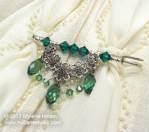 DIY Swarovski crystal shawl pin made from a kilt pin