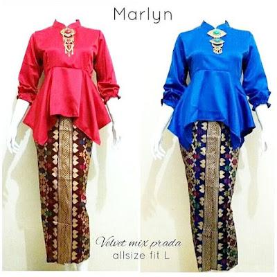 Kebaya Rok Blouse Batik Marlyn Biru Merah