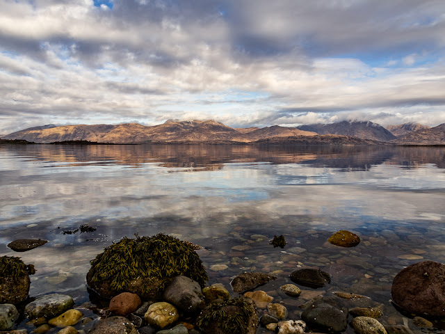 Photo of the view across Loch Linnhe from the beach in front of the cottage