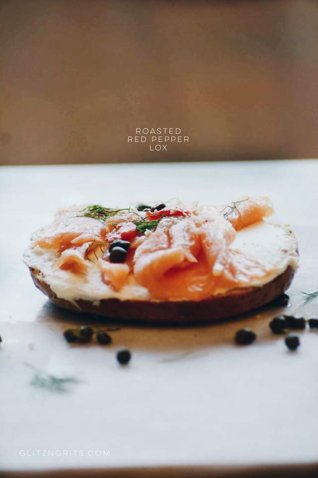 Lox; Roasted Red Pepper + Sun Dried Tomato Salmon Caper sandwich