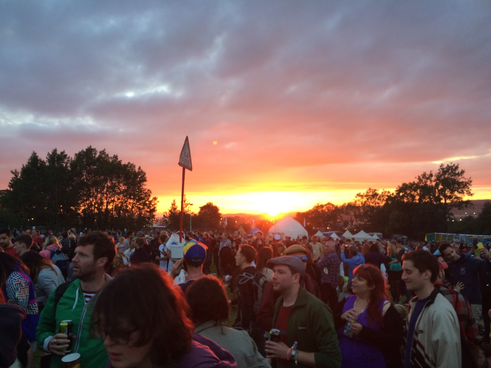 Glastonbury Festival first night at sunset