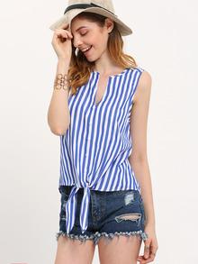 Blusa de rayas sin mangas con lazo