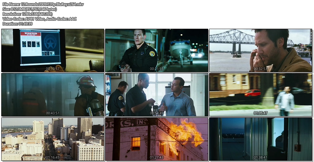 12 Rounds 2009 720p BluRay 800MB x264 Movie Screenshots
