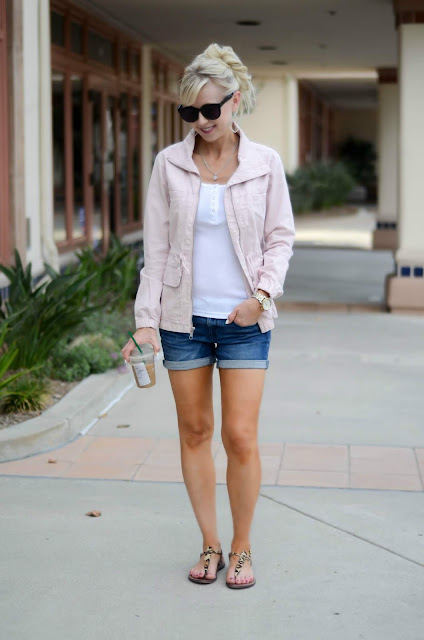 Pink Field Jacket, White Henley Tank, Jean Shorts, Leopard Sandals