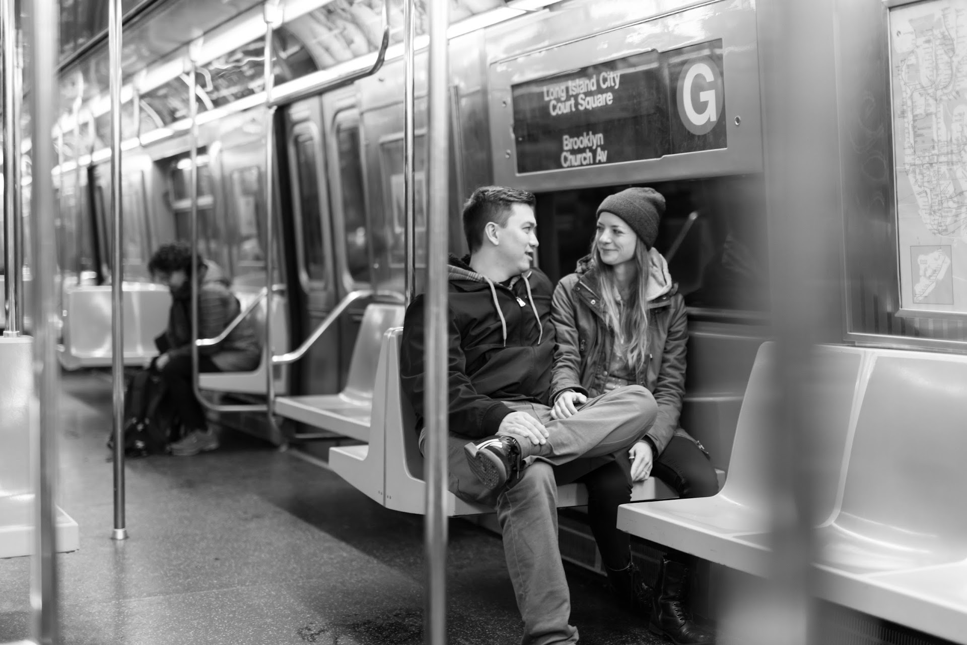 NYC, photography, couple, engagements, subway, black and white, poses, new york, brooklyn, winter, city