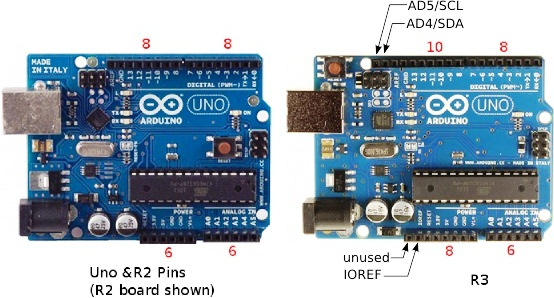 Differences Between Arduino UNO, R2 & R3 Pin Headers