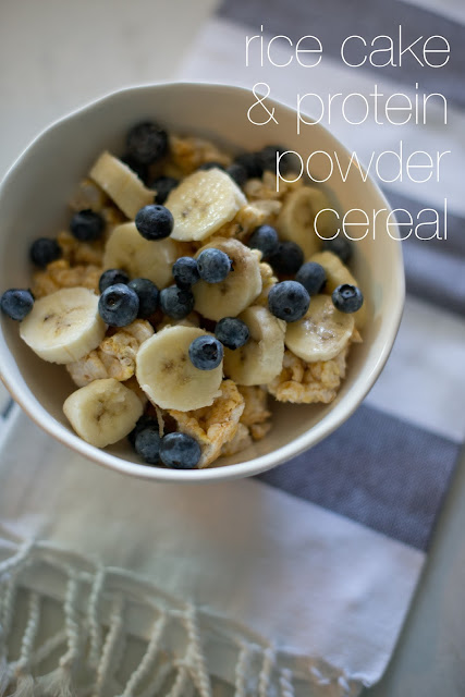 Rice cake and protein powder cereal--the flavor of a bowl of cereal with enough protein to fill you all morning!