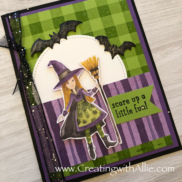 Check out the video tutorial showing you how to make this cute halloween card using the Toil and Trouble designer series paper!  You'll love how quick and easy this is to make!  www.creatingwithallie.com #stampinup #alejandragomez #creatingwithallie #videotutorial #cardmaking #papercrafts #handmadegreetingcards #fun #creativity #makeacard #sendacard #stampingisfun #sharewhatyoulove #handmadecards #friendshipcards #halloweencards