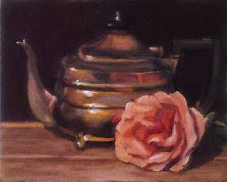 Oil painting of a silver-plated teapot beside an apricot-coloured rose.