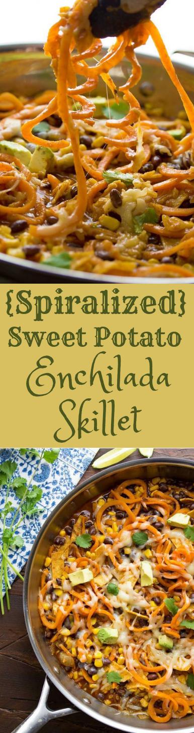 Spiralized Sweet Potato Enchilada Skillet #healthy #diet