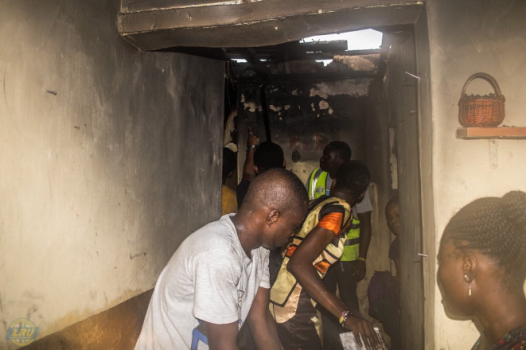 Fire outbreak at a residential building in Yaba