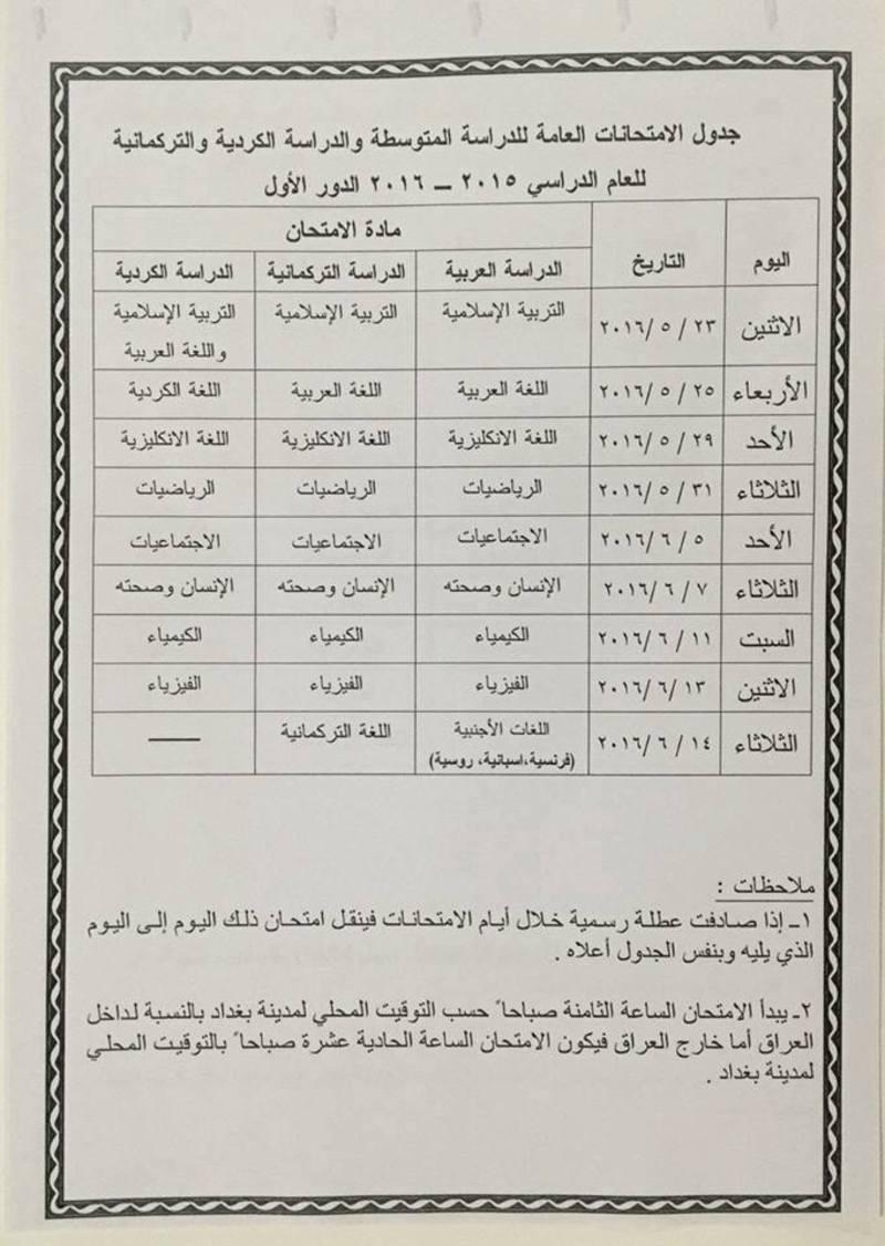 جدول الإمتحانات النهائية لصف الثالث المتوسط 2016