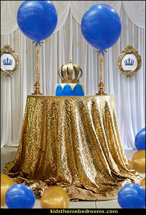 prince party table decorating  Little Prince party decorations - Prince Baby Shower - Little Prince Birthday Party supplies -  Little Prince Baby shower cake - Little Prince gold crown cake topper - royal king themed party - Prince themed party - Royal Prince themed baby shower  - Prince and king themed birthday party - Royal themed decorations