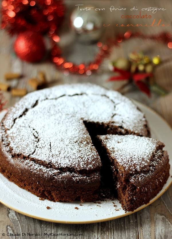Torta con farina di castagne, cioccolato e cannella