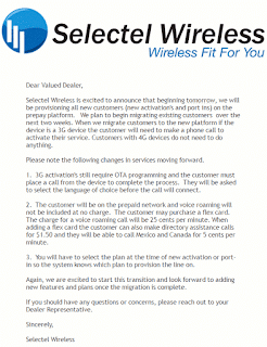 Selectel message to dealers announcing the end of free voice roaming.