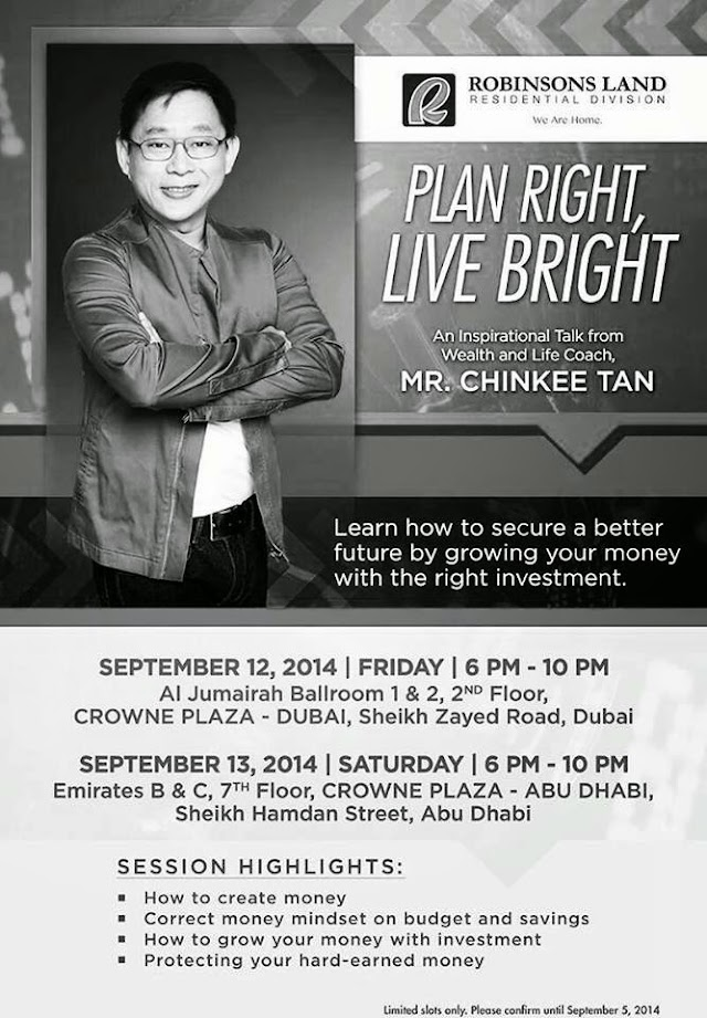 Mr. Chinkee Tan Live in UAE: Plan Right, Live Bright