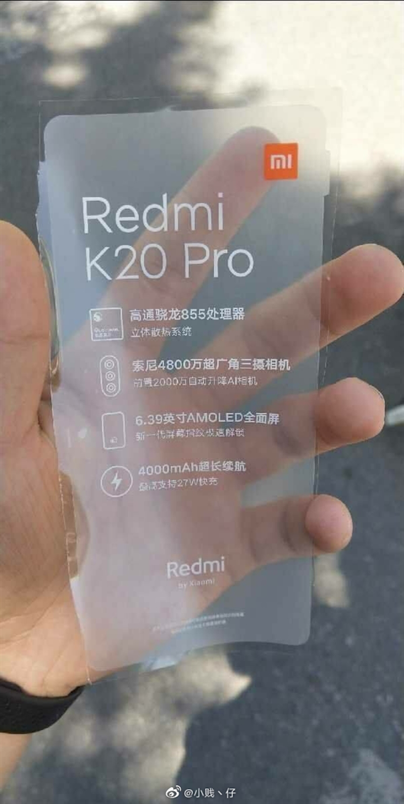 The new Redmi K20 Pro leaked smartphone sticker
