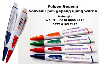 Jual Pulpen Gepeng - Souvenir pen gepeng ujung warna