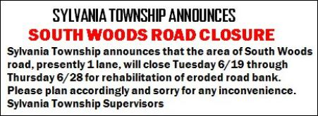 6-19 thru 6-28 South Woods Road Closure