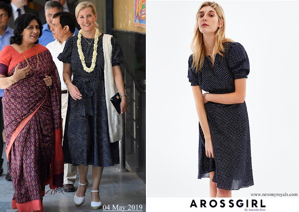 The Countess of Wessex wore ARoss Girl printed Dress in Cotton Polka Dot in Navy