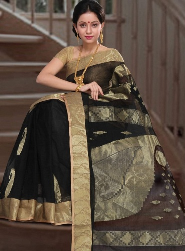 Black And Gold Tant Saree