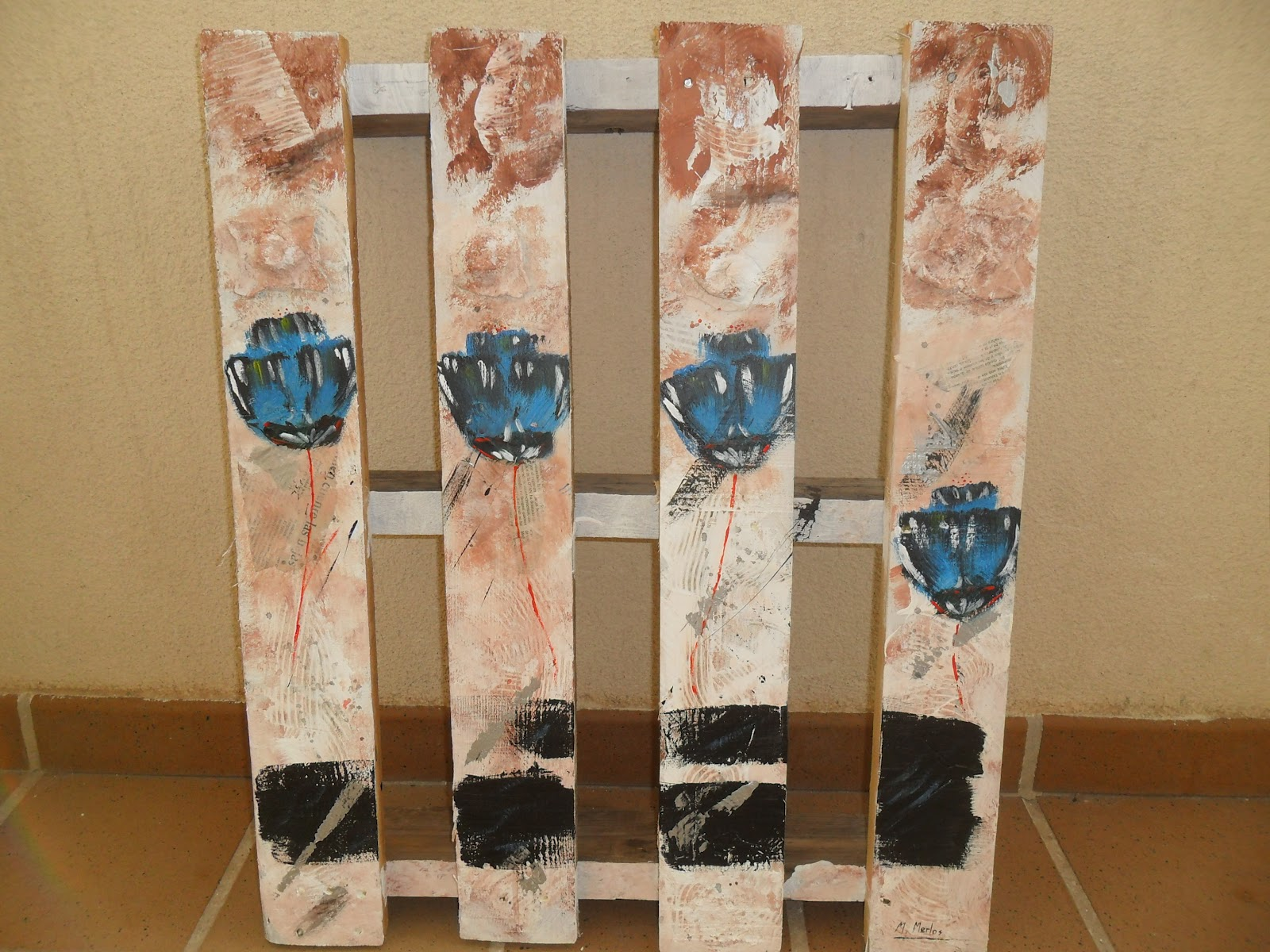 El Baul Del Reciclaje Palet Pintura Abstracta - Reciclaje-de-palet