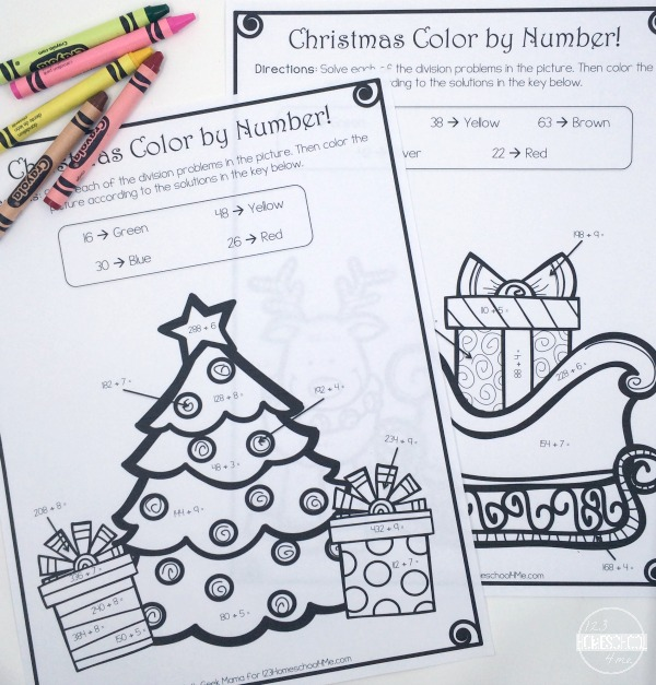 Christmas Color by Number Division – Christmas Color by Number Worksheets