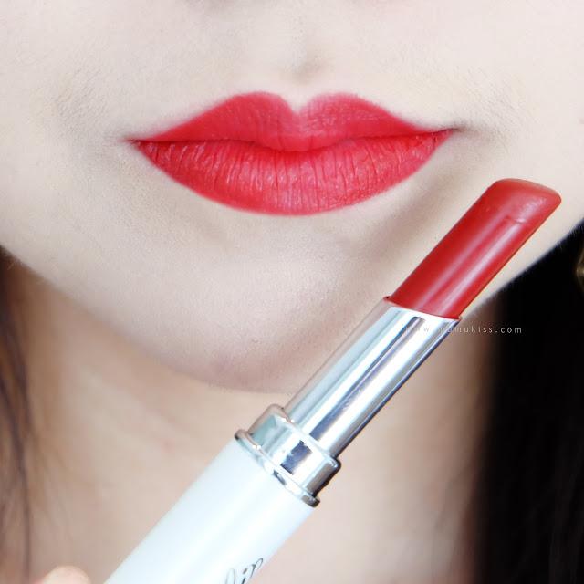 lip on lip matte reddish lipstick review
