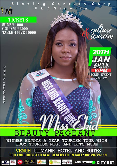 Event: Miss Ekid Beauty Pageant Date and Venue Updated | 20th Jan 2018 | Save The Date | Get Your Tickets