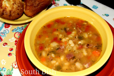 A white bean stew, made with smoked ham, a good quality andouille or smoked sausage and a mirepoix of vegetables.