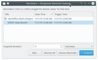 How To Set Reminders in KOrganizer