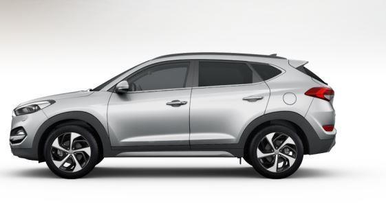 colori Nuova Hyundai Tucson 2016 Argento/Grigio Chiaro - Platinum Silver profilo laterale di lato