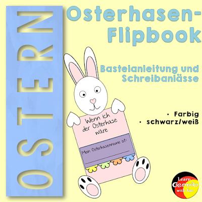 Tolle Bastelaktion für die Grundschule zu Ostern. Ein Osterhase mit Flipbook. Inklusive netter Schreibaufforderungen zu Ostern.