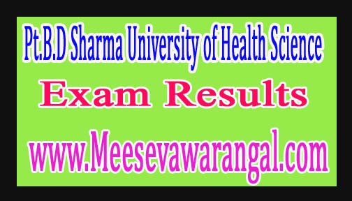 Pt.B.D Sharma University of Health Science B.Sc Nursing IVth Year Annual Aug 2016 Exam Results