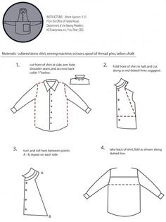 how to make a man's shirt into an apron, diy apron from old shirt