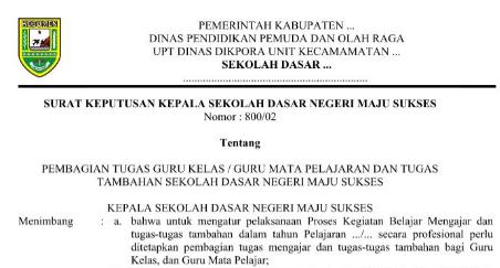 Contoh Surat Keputusan (SK) Kepala Sekolah