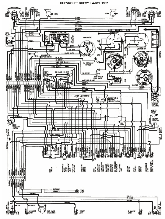 Wiring Diagram Of 1962 Chevrolet Chevy II 4Cylinder | All about Wiring Diagrams