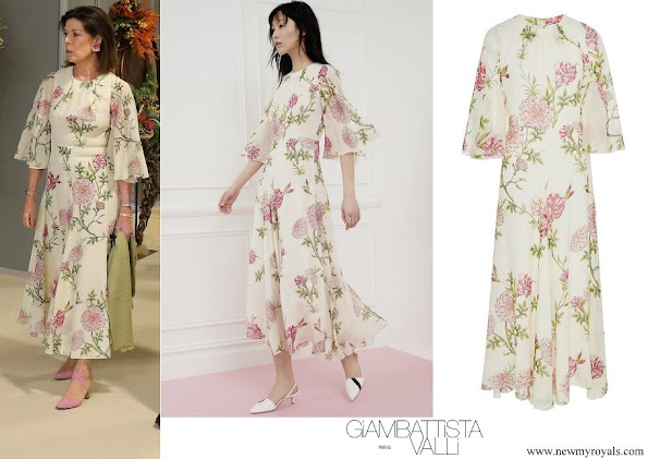 Princess Caroline wore Giambattista Valli Floral-print Silk-chiffon Midi Dress