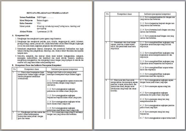 RPP Bahasa Inggris Kelas 7 Kurikulum 2013 Semester 1 dan 2 Tahun 2019-2020